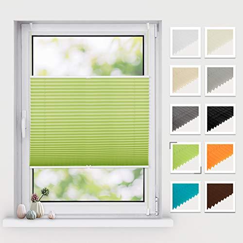 BelleMax Plissee ohne Bohren klemmfix, Jalousie Plisseerollo mit Klemmträger, Easyfix lichtdurchlässig Sichtschutz Sonnenschutz, Faltrollo für Fenster & Tür, (100x130cm, Grün)