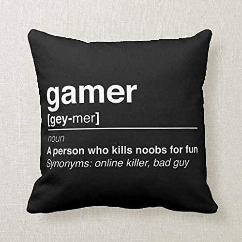 Gamer definition - Funda de almohada cuadrada de 45,7 cm
