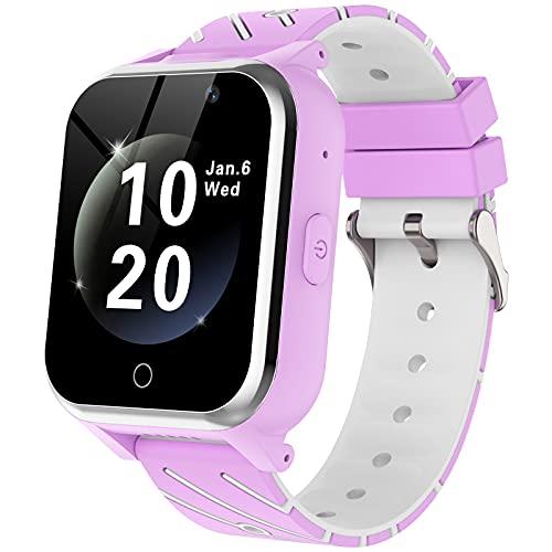 Smartwatch Niños-MP3 Música 17 Juegos Niños Reloj Inteligente llamada Chat de Voz SOS linterna Cámara Vídeo Digital Pantalla Táctil HD Deporte Reloj de Pulsera Digital Para Niños De 4-12 Años(Purpura)
