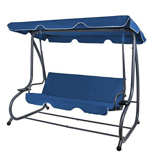 Montafox 4-Sitzer Hollywoodschaukel Gartenschaukel klappbar mit Bettfunktion mit Sonnendach und Liegefunktion für 4 Personen, Farbe:Nachtblau