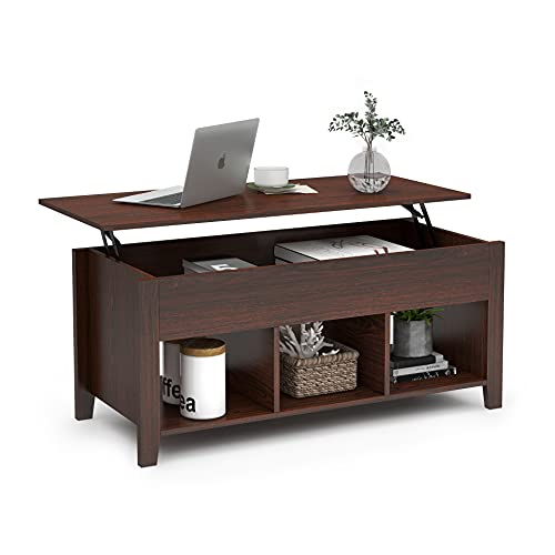 ChooChoo Lift Top Coffee Table w/Hidden Storage Compartment and 3 Lower Open Shelves, Pop Up Coffee Table for Living Room, Brown