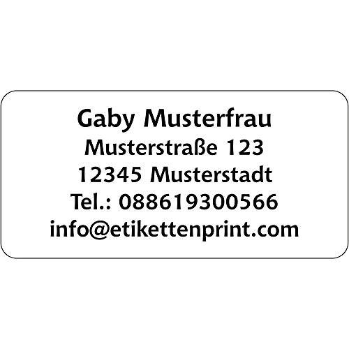 Adressaufkleber Adress Etiketten - 350 Stück - 54x25 mm, 1-5 Zeilen beschriftbar mit Wunschtext, Hochglanzpapier selbstklebend