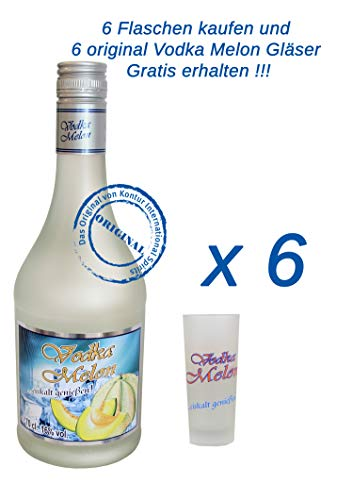 6 x Vodka Melon 0,7Liter 16% vol. mit 6 Gläser 2/4cl.