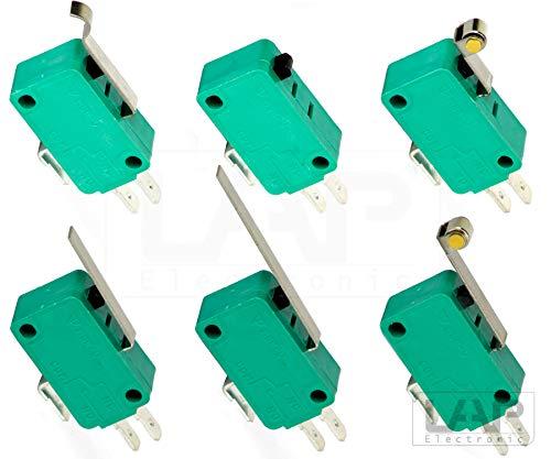 Mikroschalter Endschalter Hebel Rolle Pin Taster Schalter SPDT 10A 250V Auswahl: (2 Stück, Hebel lang)