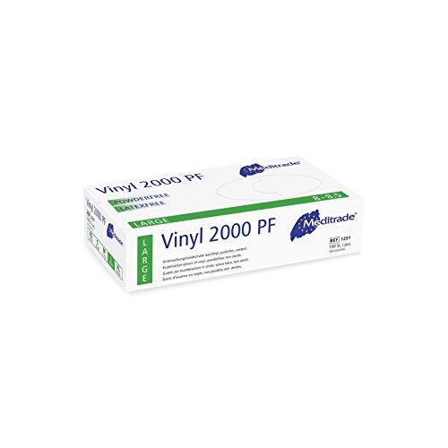 Meditrade 1251M Vinyl 2000 Puderfreie Handschuhe, Farbe Blau, Größe M, Packung mit 100 Stück