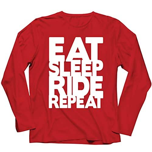 lepni.me Camiseta de Manga Larga para Hombre para Ciclistas Come Duerme Monta Repite Citas para Amantes de la Bicicleta (XXL Rojo Multicolor)