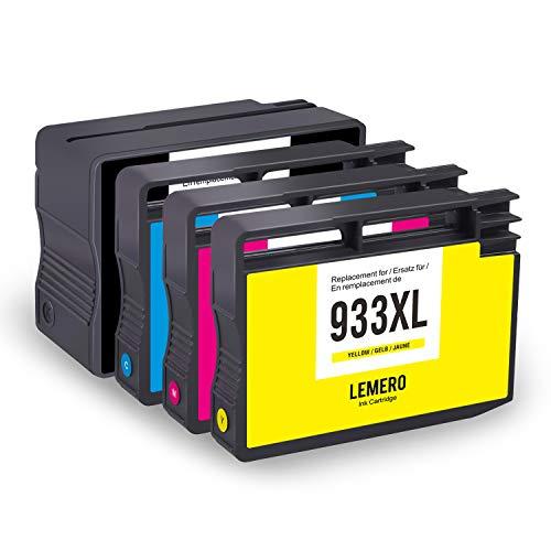 4 LEMERO Kompatibel Druckerpatronen für HP 932XL 933XL für HP Officejet 6100 6600 6700 7110 7510 7512 7610 7612 Drucker (Schwarz Cyan Magenta Gelb)