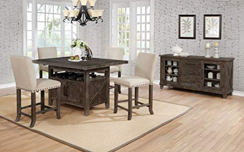 Best Quality Furniture D72 D72D5 5Pc Counter Height Set (1 Table + 4 Chairs) Beige, Brown Rustic