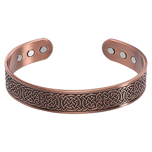 Holibanna Pulseira de cobre magnético, nó celta, bracelete de aço inoxidável, antiguidade viking energético, presente para homens e mulheres