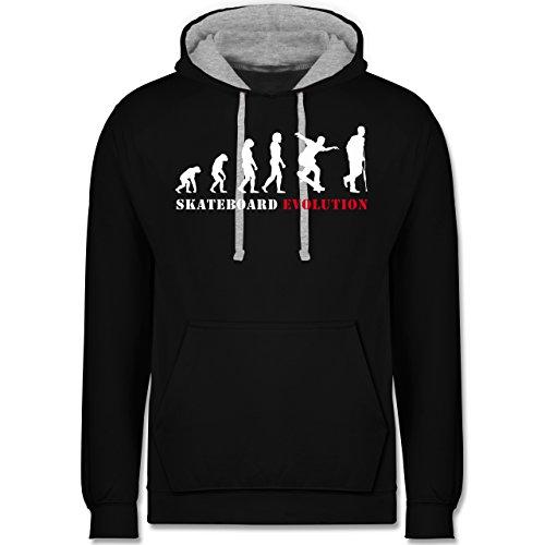 Shirtracer Evolution - Skateboard Evolution Verletzung - XXL - Schwarz/Grau meliert - Skate Outfit - JH003 - Hoodie zweifarbig und Kapuzenpullover für Herren und Damen