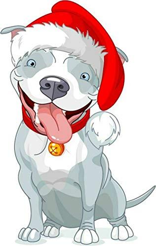 10cm! Klebe-Folie Wetterfest Made-IN-Germany Pitbull Hund Weihnachten Weihnachtsmütze H1461 UV&Waschanlagenfest Auto-Aufkleber Sticker Decal