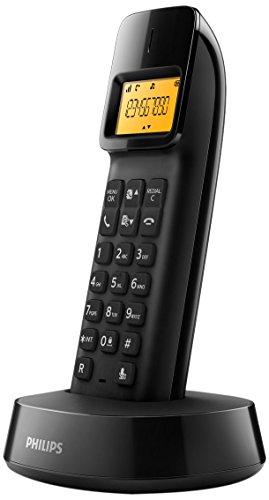 Philips D1403B/22 - Teléfono (Teléfono DECT, Terminal inalámbrico, 50 entradas, Identificador de Llamadas, Negro)