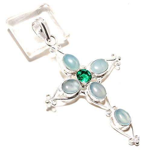 jewels paradise Increíble Colgante de turmalina Verde y ágata Azul Hecho a Mano en Plata de Ley 925 (SF-2344)