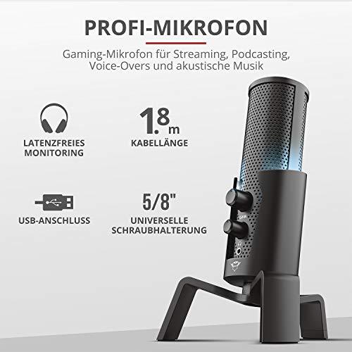 Trust Gaming GXT 258 Fyru USB Streaming Mikrofon für PC, Laptop, PS4 und PS5 (mit 4 Aufnahmecharakteristika: Nierenförmig, Bidirektional, Stereo und Omnidirektional, Zero Latency, LED)