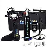 Lixibei Botella de oxígeno para Buceo, Portatil Mini Botella de Buceo de 1 litro con Capacidad de 15-20 Minutos, respirador + Bomba de Aire de Alta presión, Respirar libremente,Negro