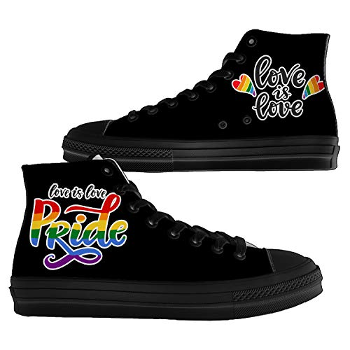 Mens Womens LGBT Pride High Top Canvas Shoes Gay Lesbian Love is Love Fashion Walking Sneakers,10.5 Men/12 Women Black