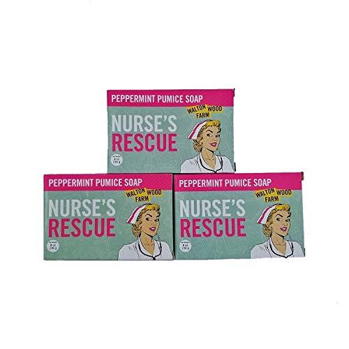 Walton Wood Farm Nurse's Rescue Peppermint Pumice Soap Bar Trio Vegan-Friendly and Paraben-Free 8 oz
