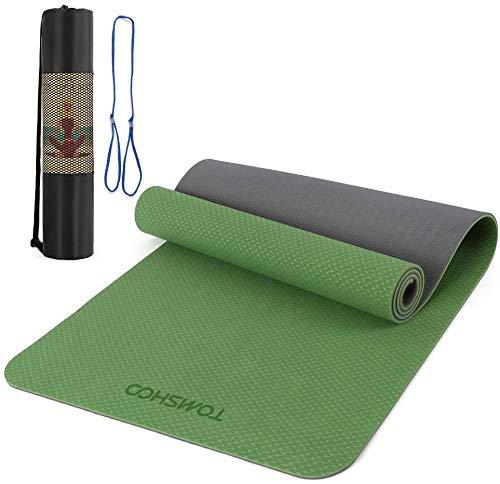 TOMSHOO+ Esterilla Yoga Antideslizante, Colchoneta Yoga de TPE 8mm, Alfombrilla Yoga Doble Capa y Doble Color con Correa y Bolsa de Transporte para Pilates Ejercicios y Fitness