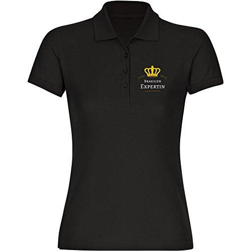 Multifanshop Damen Poloshirt Brasilien Expertin - schwarz - Größe S bis 2XL, Größe:XXL