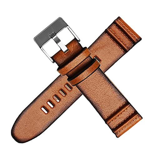 Echtes Leder Armband 22mm/24mm/26mm/28mm Retro Uhr Uhr Armbanduhr Ersatzgürtel, 24mm