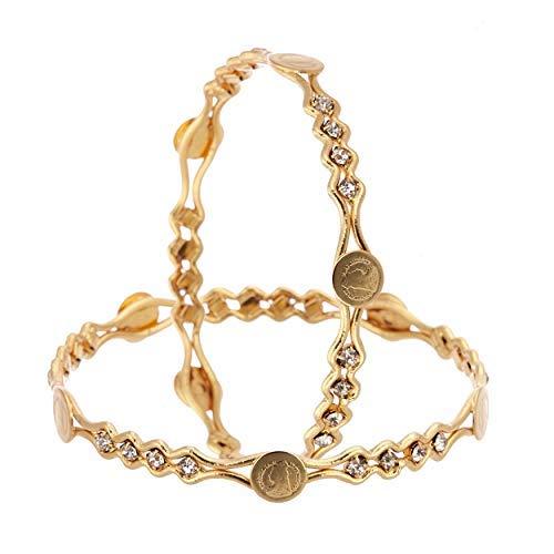 SataanReaper Presents Temple Coin Trendy Gold Plating Designer American Diamond Bangles Jewellery per Donna E Ragazze (2.4)#Sr-4941