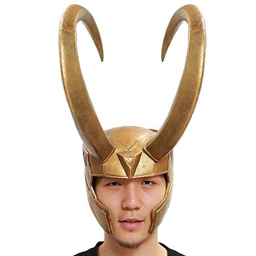 Evere Loki Helm Cosplay Kostüm Golden PVC Voller Kopf Handgefertigt Maske für Erwachsene Herren Halloween Kleidung Prop