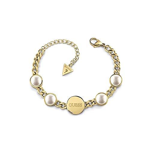 Pulsera Guess Pearls Ubb78071-S Acero Inoxidable Quirúrgico Chapada Oro Perlas Sintéticas Logo