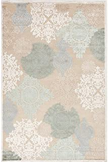 Fables Cream/Blue Floral Rug Rug Size: 5' x 7'6