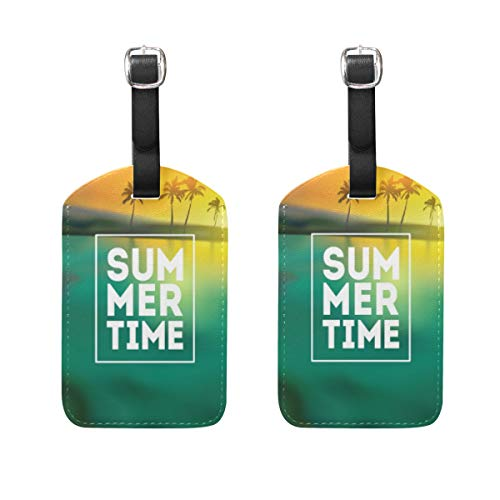 Chic Houses Palm Tree Summer Leather Luggage Tags Coconut Tree Pattern Suitcase Baggage Label Travel ID Bag Tag for Suitcase 2031386