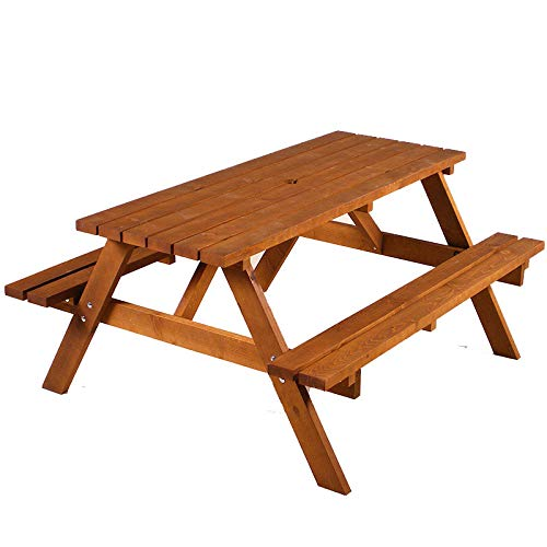 Durham Heavy Duty Wooden A-Frame Picnic Table - Traditional A-Frame Wood Picnic Bench To Seat 6