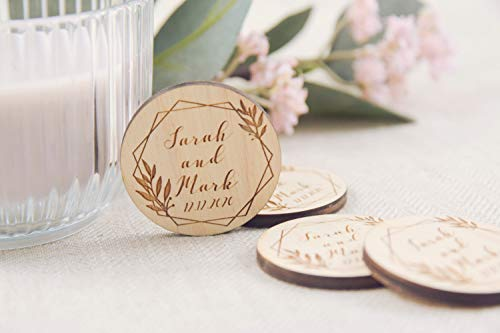 10Pcs Round Wooden Wedding Magnets, Personalized Boho Save The Date Magnet, Personalised Engraved Wedding Invitation, Floral Save The Date, Custom Wooden Save The Dates