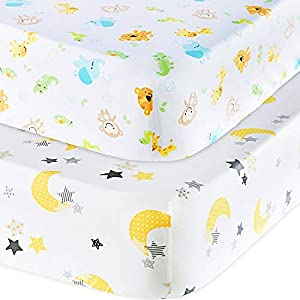 Handywa – 100% Cotton 2 Pack Fitted Crib Sheets Set for Baby and Toddler Bed Mattresses – Safari Animals and Moon Star Print for Boy or Girl Nursery