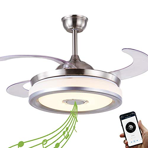 Retractable Ceiling Fan with Light and Bluetooth Speaker,...