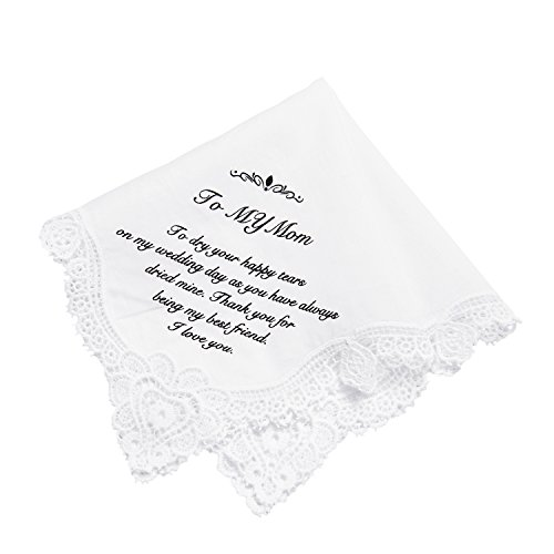 Ling's moment Mother of The Bride Gifts Hankie Wedding Handkerchief for Mom Gift, Birthday Thanksgiving Christmas New Year Gift,100% Cotton for Mother of The Groom Gifts