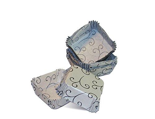 ScanCup Gebäckförmchen, eckig, 50x50x20mm, Silber mit schwarzem Designmuster, 45 Stück