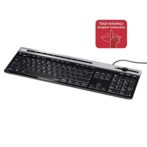 Preisvergleich Produktbild Hama Multimedia Tastatur (geräuschlose Tastatur,  12 Multimedia Tasten,  flach,  Lautstärkeregler,  kabelgebunden,  USB,  deutsches Layout QWERTZ,  Ziffernblock; 1, 4m Kabellänge,  Computer-Tastatur) schwarz