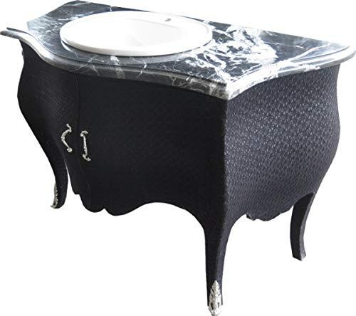 Casa Padrino Barock Waschtisch Kommode Schwarz Stoffbezug mit Marmorplatte Barock Badezimmermöbel