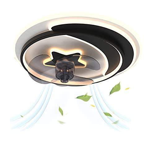 Ventilador de Techo con Luz Lámpara LED 50W Ventilador App Control Luz Regulable Decoración dormitorio Ventilador Luz de Techo Interiores Plafón de Techo lluminación Φ55*H25.5cm Negro VOMI