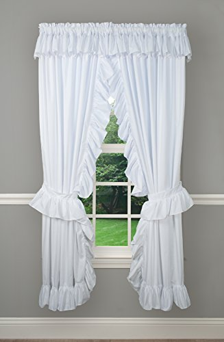 """Ellis Curtain Classic Wide Ruffled Prisilla Pair with Ties, 80"""" x 84"""", White"""