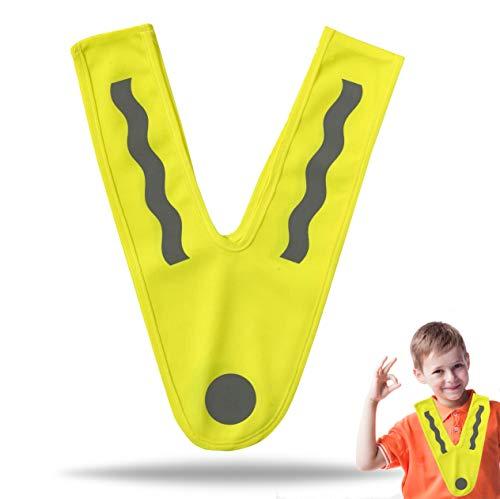 TK Gruppe Timo Klingler Gelbe Warnweste für Kinder - Geprüfte Neongelbe V Sicherheitsweste ultrahell & starkreflektierend Schulanfänger