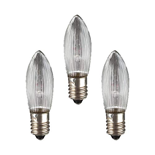 Hellum 919134 Ersatz-Riffelkerze für Lichterketten mit 7 Brennstellen/Innen- und Außenbeleuchtung/warmweiß/klar / E10 Sockel / 34 V / 3 W / 3 Stück