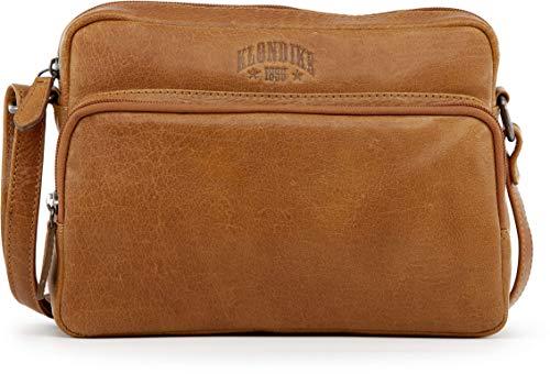 Klondike Ava Umhängetasche Damen Klein, Handtasche Damen aus Leder, Ledertasche Schultertasche Damentasche, Lederhandtasche, Cognac