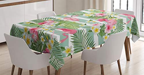 ABAKUHAUS Flamingo Tischdecke, Exotische Hawaii-Blätter, Für den Inn und Outdoor Bereich geeignet Waschbar Druck Klar Kein Verblassen, 140 x 240 cm, Weiß Grün Rosa
