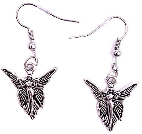 H-Customs Hada, Criatura mítica, Hada mágica, Elfos, Pendientes, Pendientes, Colgante de Metal Plateado.