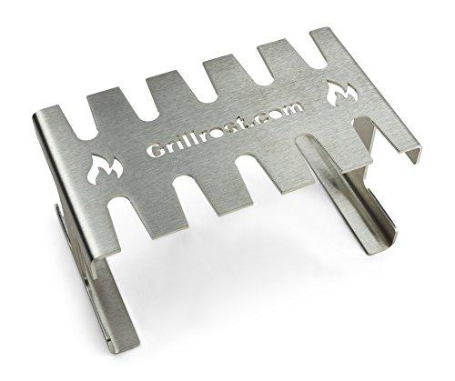 Grillrost.com Das Original Premium Hähnchenschenkel Halter für bis zu 10 Hähnchenkeulen/Drumsticks - aus massivem lebensmittelechtem Edelstahl