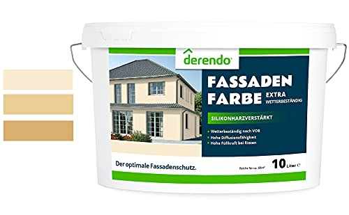 Derendo Fassadenfarbe beige 2,5l mit EXTRA hohem Wetterschutz, matte silikonharzverstärkte Fassaden Farbe, hohe Deckkraft und gute Füllkraft bei kleinen Rissen (Cashmerebeige 5-31)