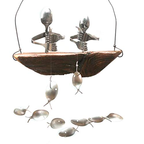 Yuui Fishing Man Spoon Fish Sculptures Wind Chime Indoor Outdoor Hanging Ornament Decoration