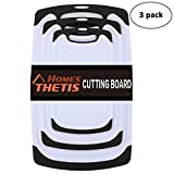Chopping Board Kitchen Cutting Board Set of 3, Dishwasher Safe Reversible Boards Sets with Deep Drip Juice Groove and BPA Free for Cooking Black & Red