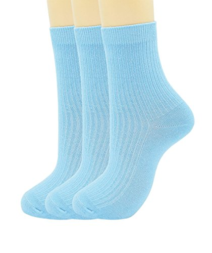 SRYL womens Super soft Combed cotton socks 3-Pairs,(Multicolor may choose)C310 (3 pairs-Light blue)