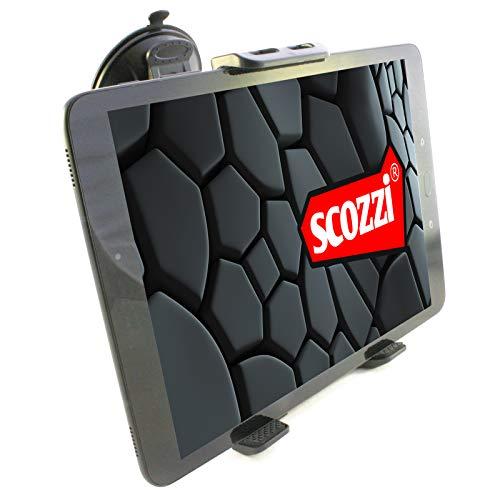 scozzi Tablet Halterung Auto Saugnapf Scheibe vorne KFZ Halterung Halter universal (kompatibel mit Apple iPad, Samsung Galaxy Tab, Huawei MediaPad) 11 4 3 S7 S6 S5e A E M6 M5 T5 Air Mini Pro schwarz